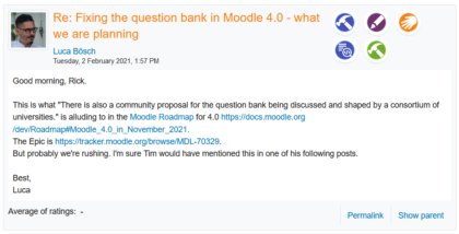 Moodle: la banque de questions sera personnalisable